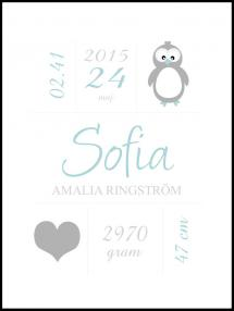 Personlig poster Penguin Birth Poster Green