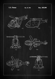 Bildverkstad Patent Print - Lego Helicopter - Black Poster