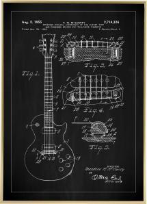 Lagervaror egen produktion Patent drawing - Electric guitar I - Black Poster