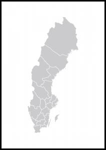 Bildverkstad Map of Sweden Grey Poster