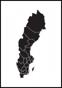 Bildverkstad Map of Sweden Black Poster