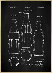 Bildverkstad Patent drawing - Coca-Cola bottle - Black Poster