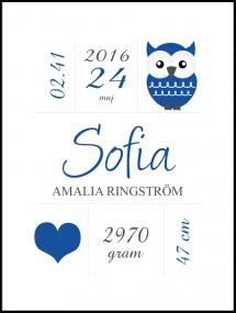 Personlig poster Owl Birth Poster Navy