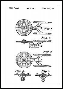 Lagervaror egen produktion Patent drawing - Star Trek - USS Enterprise Poster