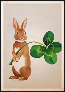 Lagervaror egen produktion Rabbit with clover Poster