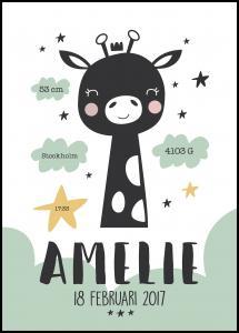 Personlig poster Baby giraffe - Green