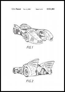 Bildverkstad Patent drawing - Batman - Batmobile 1990 I Poster