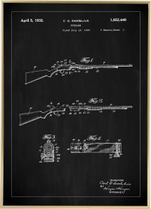Bildverkstad Patent drawing - Rifle I - Black Poster
