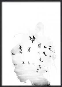 Lagervaror egen produktion Bird Head B&W Poster