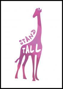 Bildverkstad Giraffe stand tall - Pink Poster