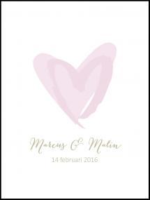 Personlig poster Love Weddingposter Pink