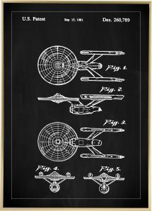 Bildverkstad Patent drawing - Star Trek - USS Enterprise - Black Poster