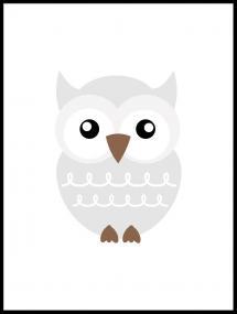 Bildverkstad Owl Solo - Misty grey Poster