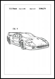 Lagervaror egen produktion Patent drawing - Ferrari F40 II Poster