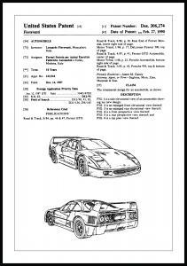 Bildverkstad Patent drawing - Ferrari F40 I Poster