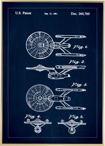 Bildverkstad Patent drawing - Star Trek - USS Enterprise - Blue Poster