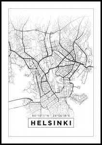 Bildverkstad Map - Helsinki - White Poster