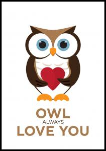 Bildverkstad Owl Always Love you - Brown-Black