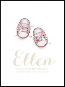 Personlig poster Baby shoes - Pink