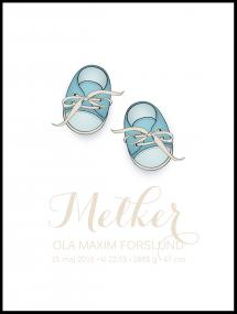 Personlig poster Baby shoes - Blue