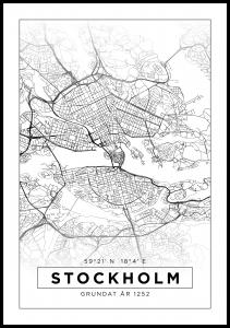 Lagervaror egen produktion Map - Stockholm - White Poster