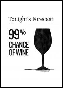 Lagervaror egen produktion Tonights Forecast 99% Chance of Wine Poster