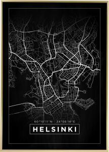 Bildverkstad Map - Helsinki - Black Poster