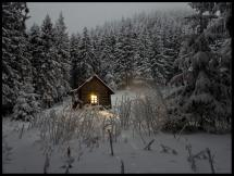 Lagervaror egen produktion Cabin in winterscape Poster