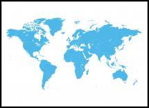 Bildverkstad World map Blue Poster