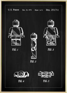 Lagervaror egen produktion Patent drawing - Lego I - Black Poster