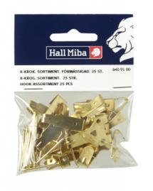 Hallmiba X picture hook Brass plated 25 st