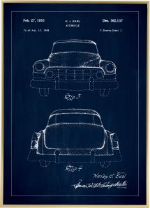 Bildverkstad Patent drawing - Cadillac II - Blue Poster