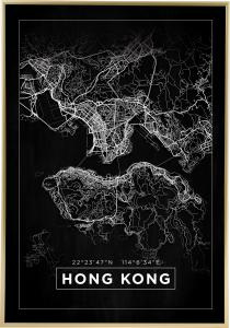 Bildverkstad Map - Hong Kong - Black Poster