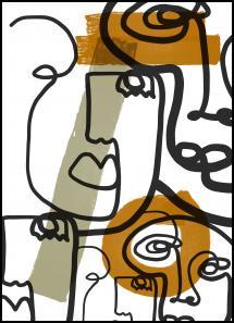 Lagervaror egen produktion Graphic faces Poster
