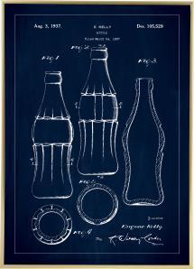 Bildverkstad Patent drawing - Coca-Cola bottle - Blue Poster