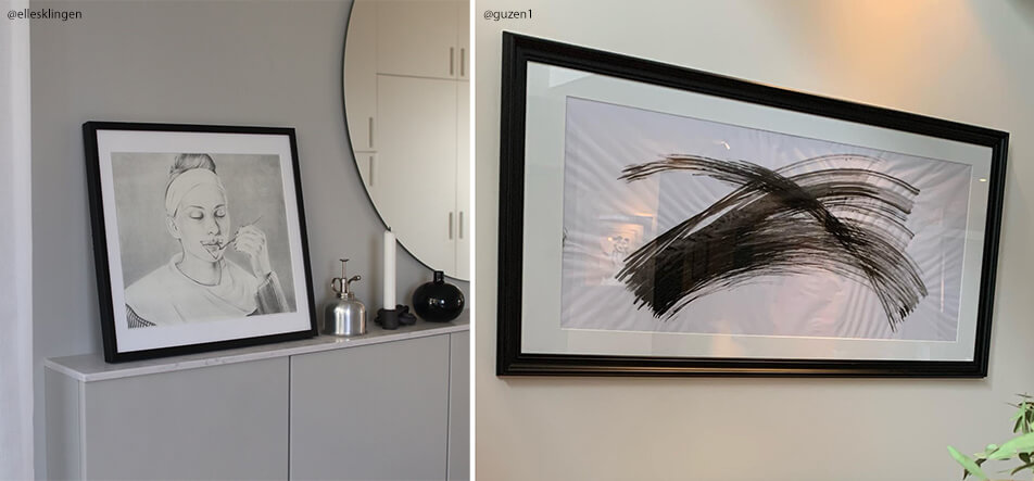 Two black made to measure picture frames with black and white picture