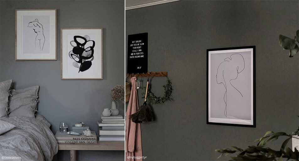 Light, graphical posters on dark walls