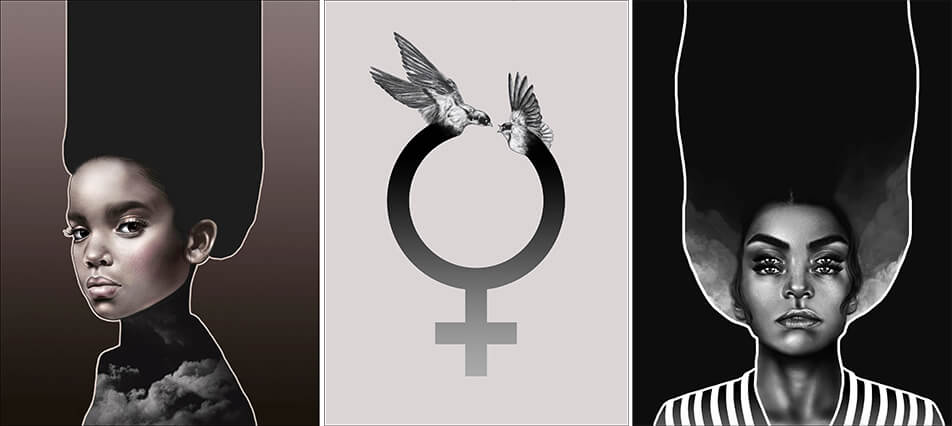 Graphical posters - posters with portraits of women and feminine symbols
