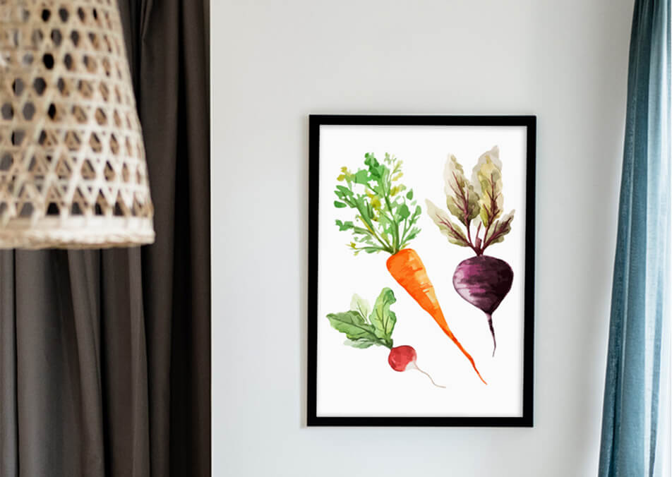 Kitchen picture with vegetables on a white wall - kitchen decor