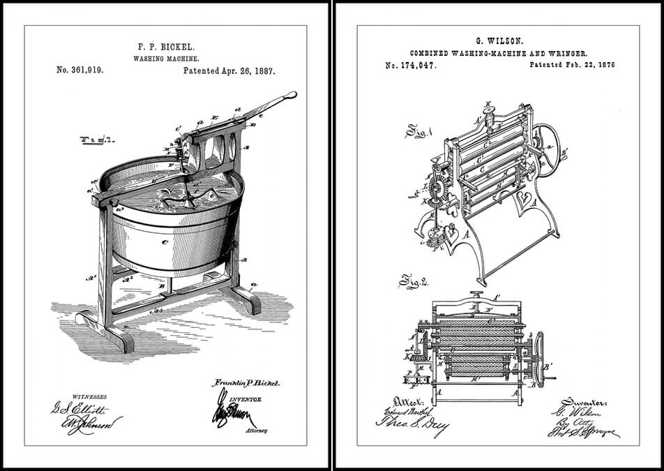 Posters with patent drawings for washing machines