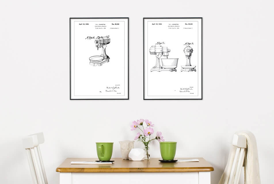 Posters with patent draws of a mixer, against white wall - kitchen decor