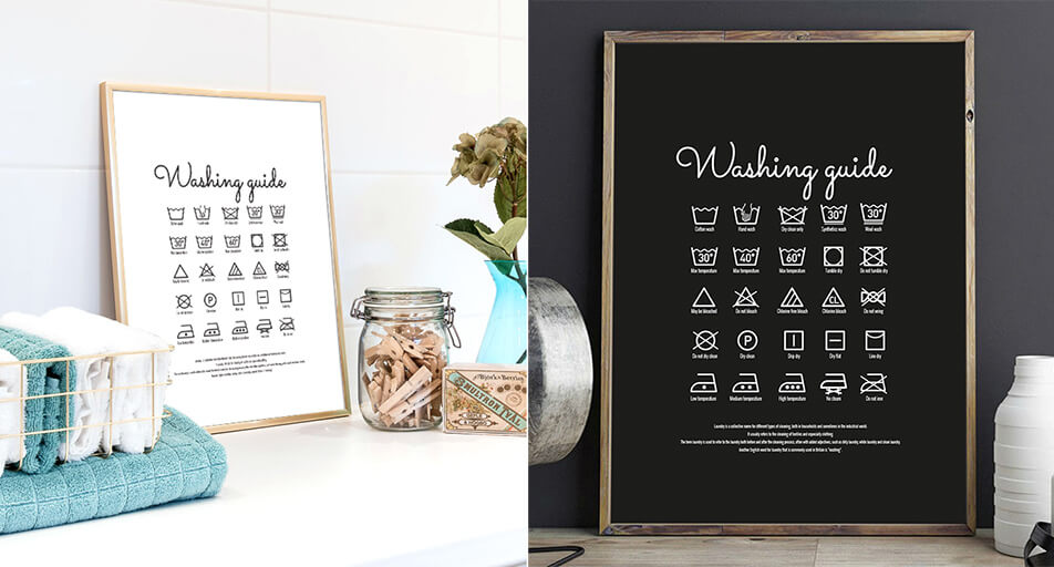 Posters with laundry instructions - decoration in laundry room