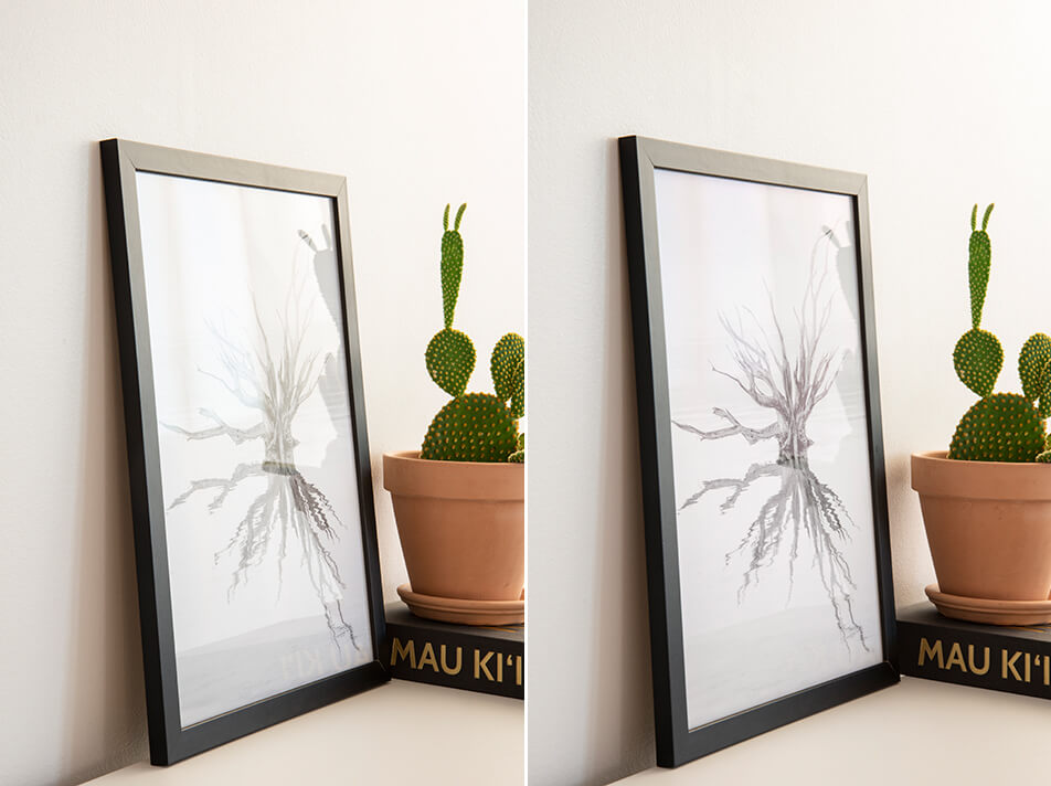 Two black picture frames with different types of glass – float glass and anti-reflection glass